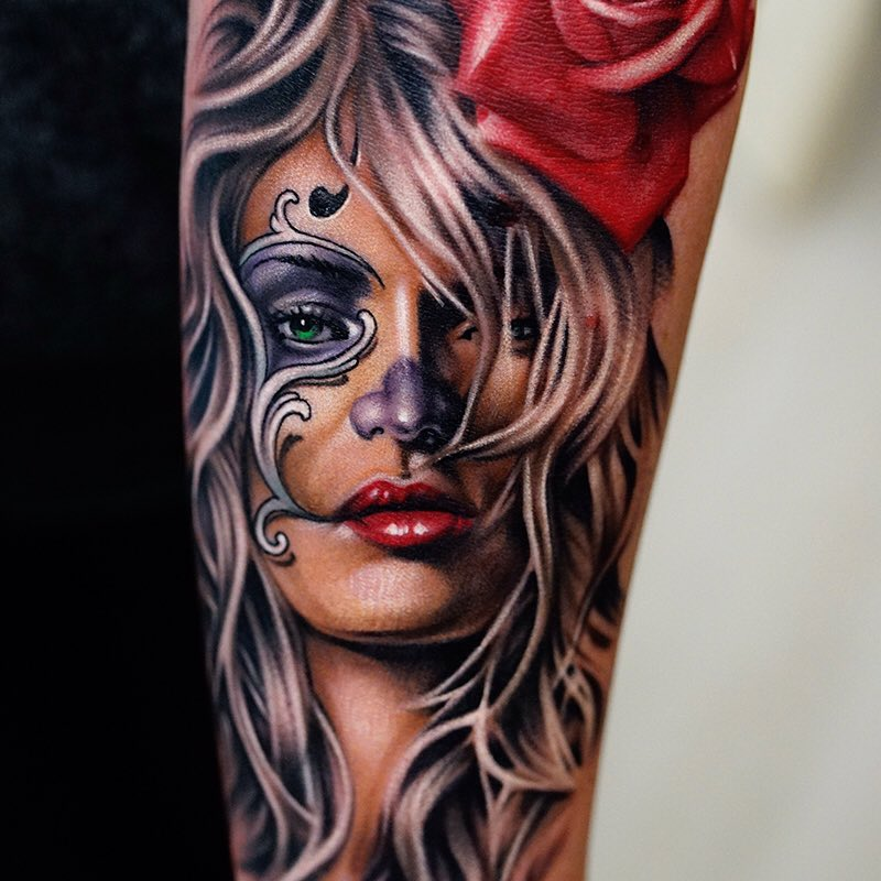 Tattoo realismo catrina a color