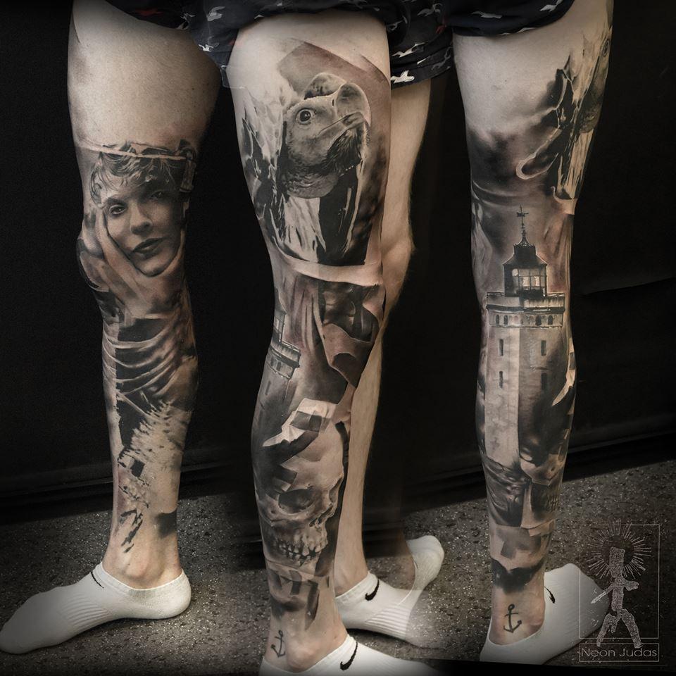Tatuaje pierna realismo