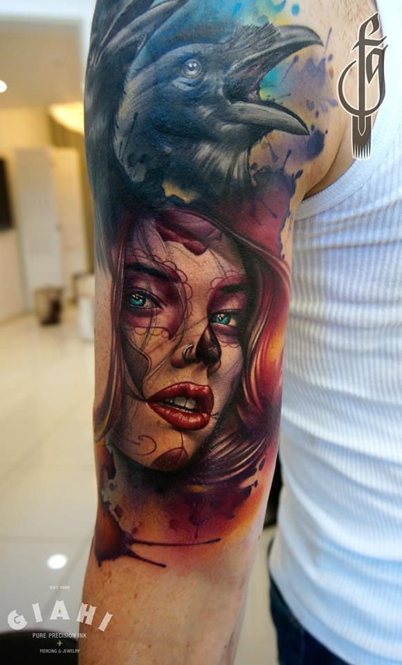 Tatuaje Catrina realista en color